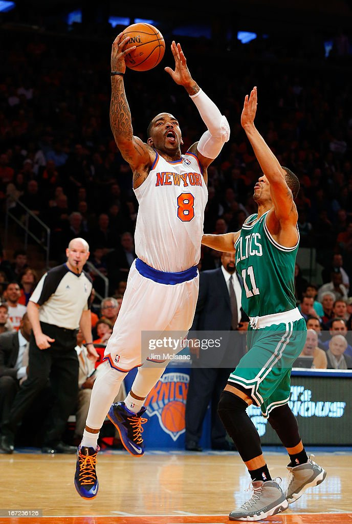J.R. Smith #8 of the New York Knicks goes to the hoop against Courtney Lee #11 of the Boston Celtics during Game One of the Eastern Conference Quarterfinals of the 2013 NBA Playoffs on April 20, 2013 at Madison Square Garden in New York City. The Knicks defeated the Celtics 85-78.