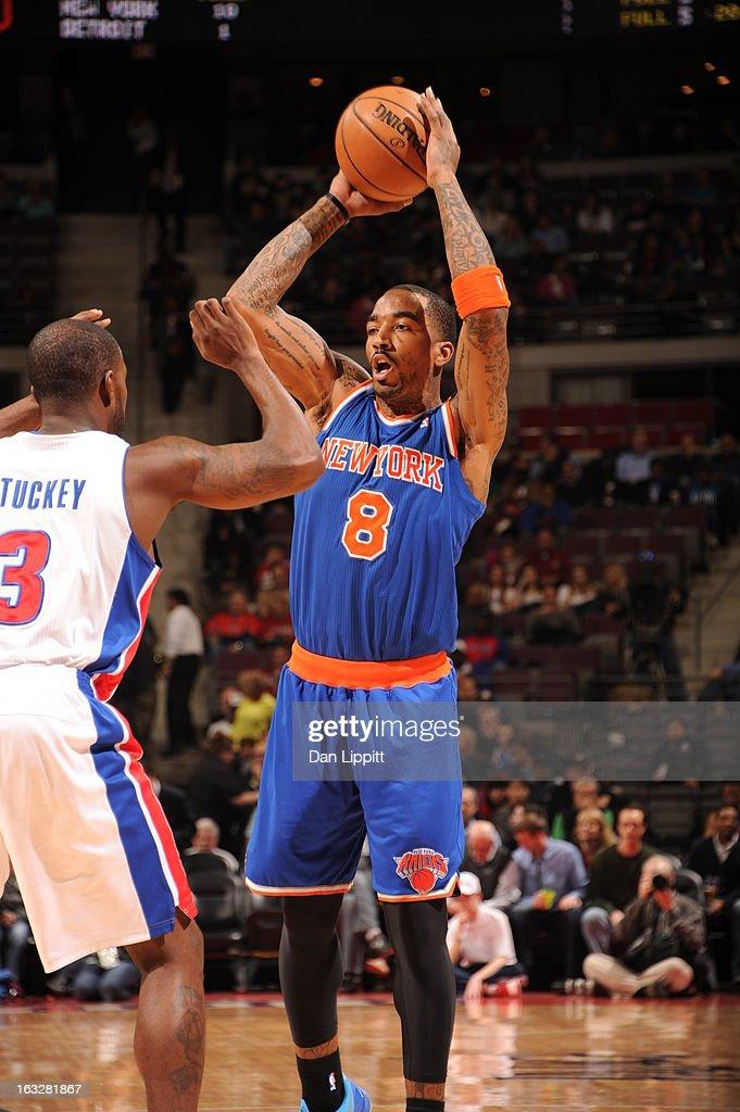 <a gi-track='captionPersonalityLinkClicked' href=/galleries/search?phrase=J.R.+Smith&family=editorial&specificpeople=201766 ng-click='$event.stopPropagation()'>J.R. Smith</a> #8 of the New York Knicks handles the ball against defense during the game between the Detroit Pistons and the Atlanta Hawks on March 6, 2013 at The Palace of Auburn Hills in Auburn Hills, Michigan.