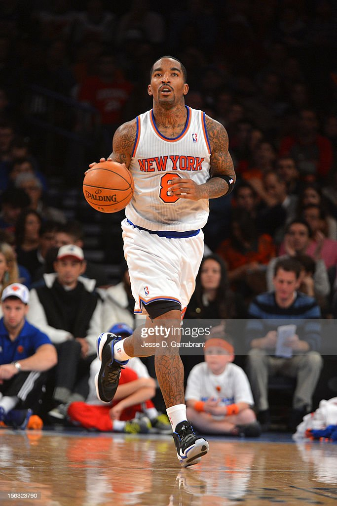 J.R. Smith #8 of the New York Knicks handles the ball against the Philadelphia 76ers on November 4, 2012 at Madison Square Garden in New York City.
