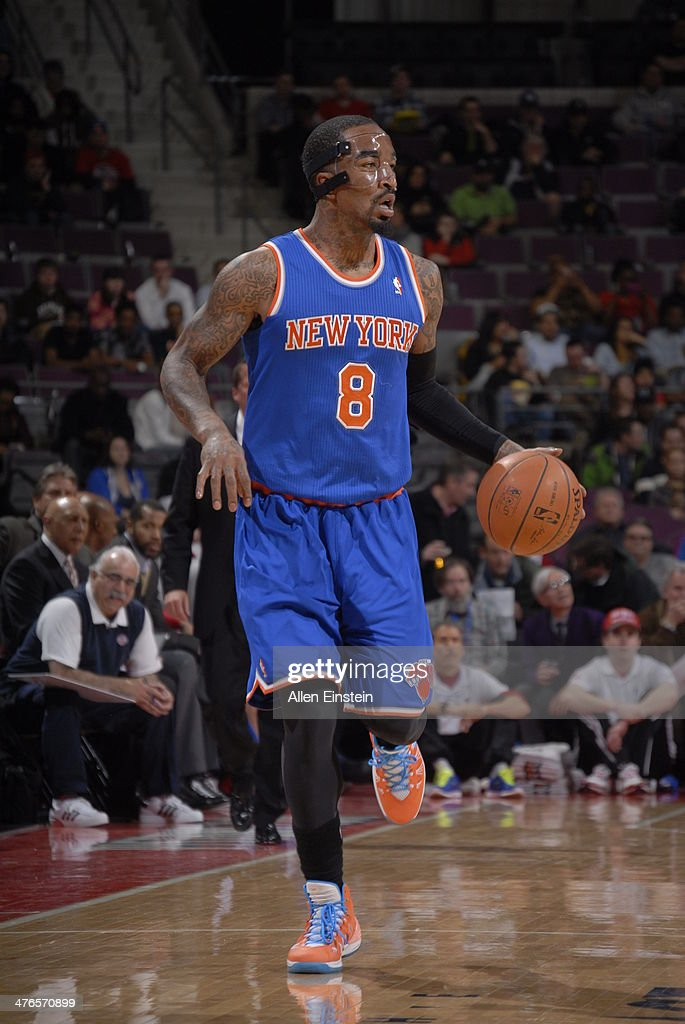 <a gi-track='captionPersonalityLinkClicked' href=/galleries/search?phrase=J.R.+Smith&family=editorial&specificpeople=201766 ng-click='$event.stopPropagation()'>J.R. Smith</a> #8 of the New York Knicks handles the ball during a game against the Detroit Pistons on March 3, 2014 at The Palace of Auburn Hills in Auburn Hills, Michigan.