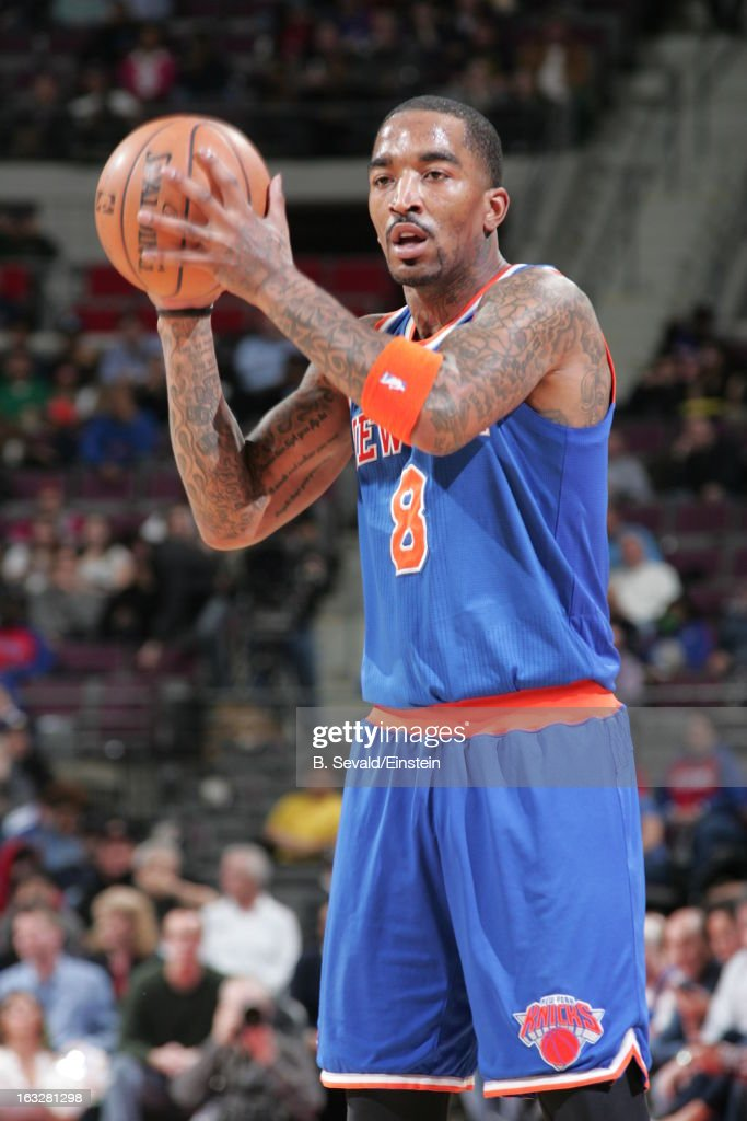 J.R. Smith #8 of the New York Knicks handles the ball during the game between the Detroit Pistons and the Atlanta Hawks on March 6, 2013 at The Palace of Auburn Hills in Auburn Hills, Michigan.