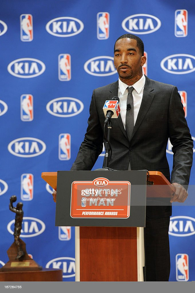 J.R Smith #8 of the New York Knicks is the winner of the 2012-13 Kia NBA Sixth Man Award as the league's best player in a reserve role on April 22, 2012 at the Madison Square Garden Training Center in Tarrytown, New York.