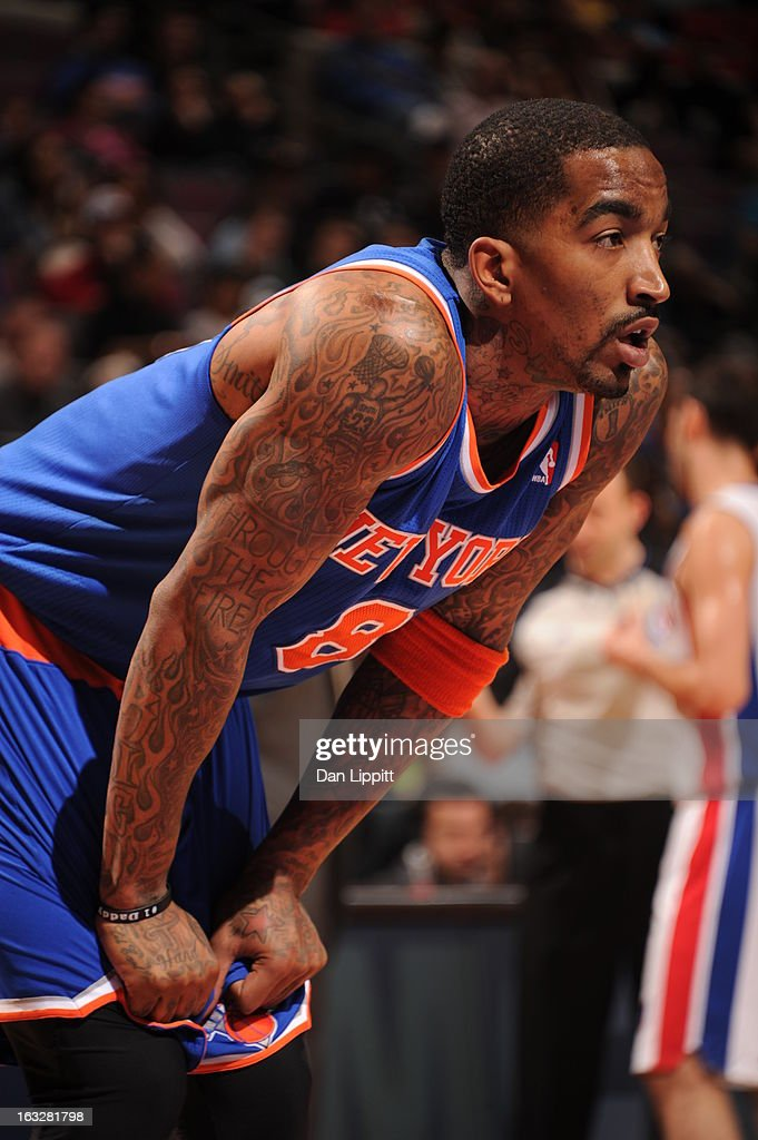 J.R. Smith #8 of the New York Knicks looks on during the game between the Detroit Pistons and the Atlanta Hawks on March 6, 2013 at The Palace of Auburn Hills in Auburn Hills, Michigan.