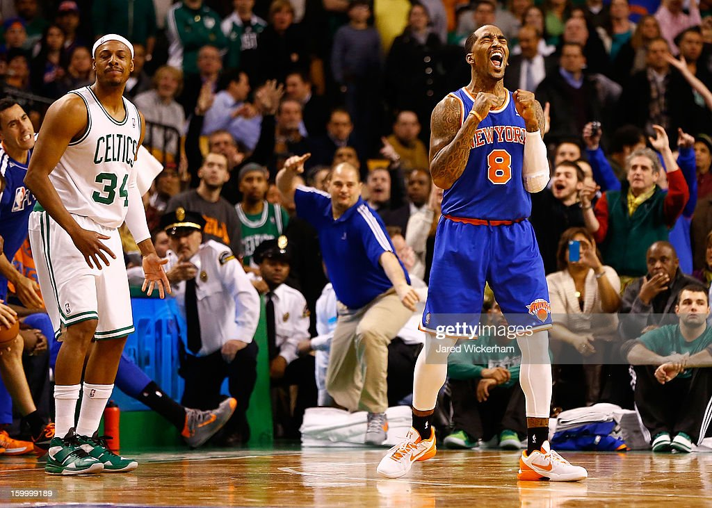 J.R. Smith #8 of the New York Knicks reacts after Paul Pierce #34 of the Boston Celtics lost possession of the ball in the final seconds of the fourth quarter during the game on January 24, 2013 at TD Garden in Boston, Massachusetts.