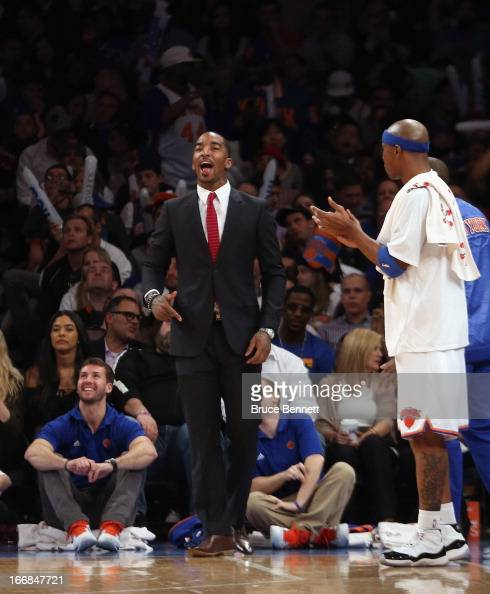 R Smith of the New York Knicks responds to a Knicks basket against the Atlanta Hawks at Madison Square Garden on April 17 2013 in New York City The...
