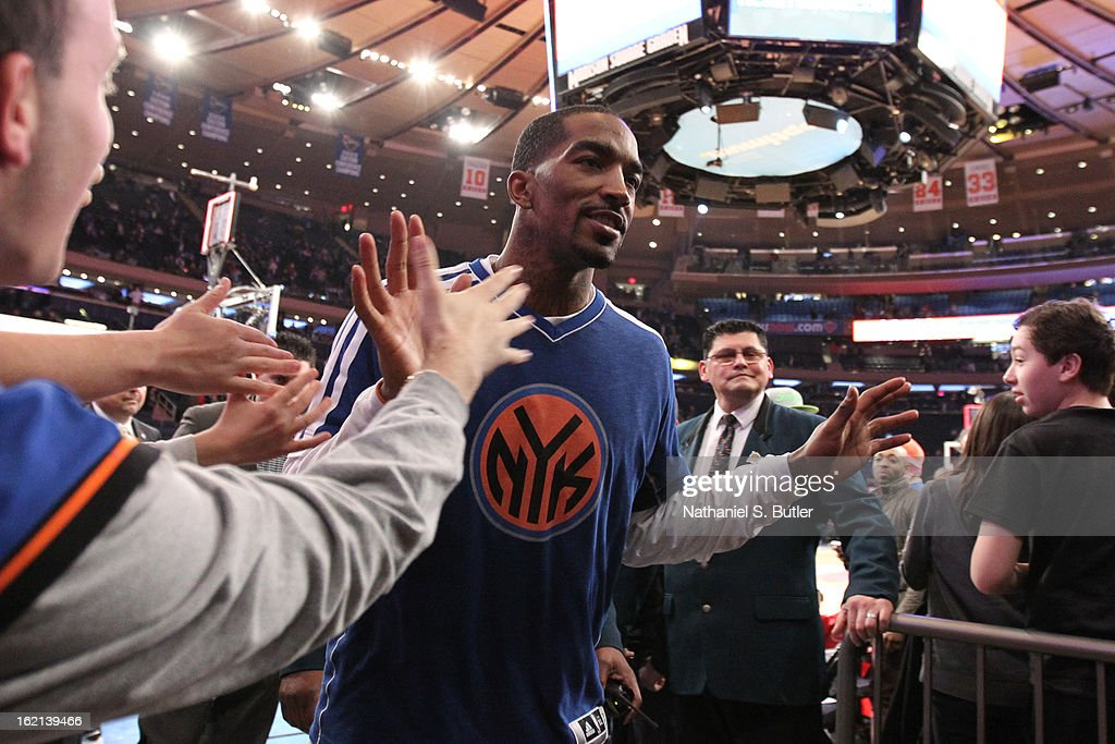 J.R. Smith #8 of the New York Knicks runs out before the game against the Sacramento Kings on February 2, 2013 at Madison Square Garden in New York City.