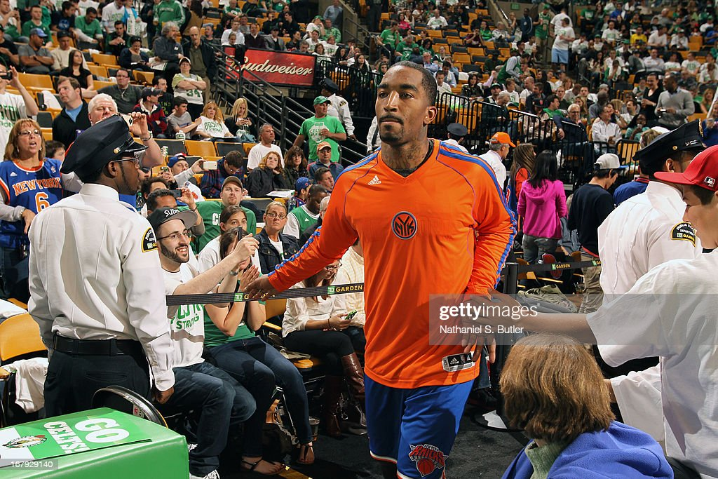 J.R. Smith #8 of the New York Knicks runs out before the game against the Boston Celtics in Game Three of the Eastern Conference Quarterfinals during the 2013 NBA Playoffs on April 26, 2013 at the TD Garden in Boston.