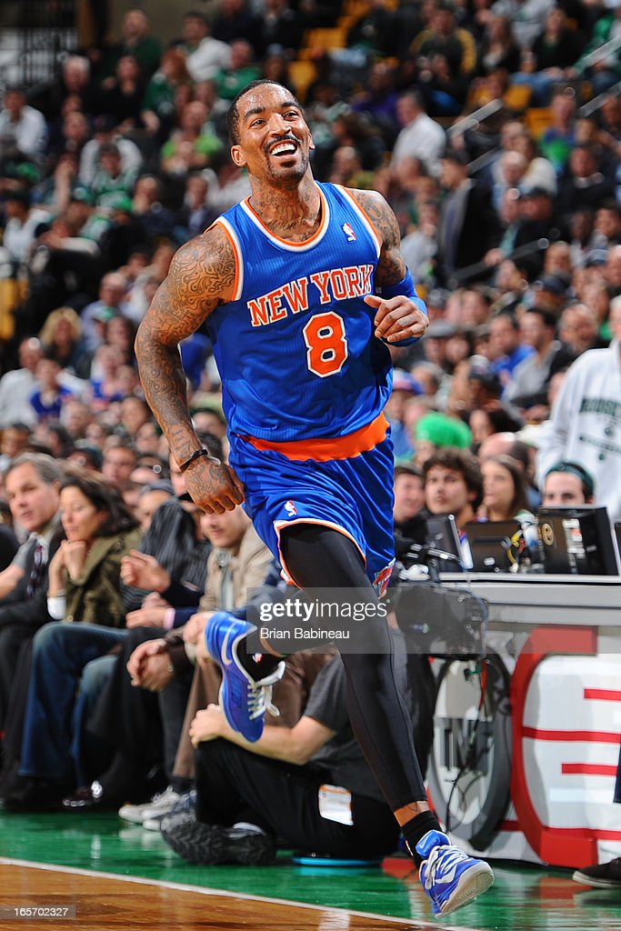<a gi-track='captionPersonalityLinkClicked' href=/galleries/search?phrase=J.R.+Smith&family=editorial&specificpeople=201766 ng-click='$event.stopPropagation()'>J.R. Smith</a> #8 of the New York Knicks runs up court against the Boston Celtics on March 26, 2013 at the TD Garden in Boston, Massachusetts.
