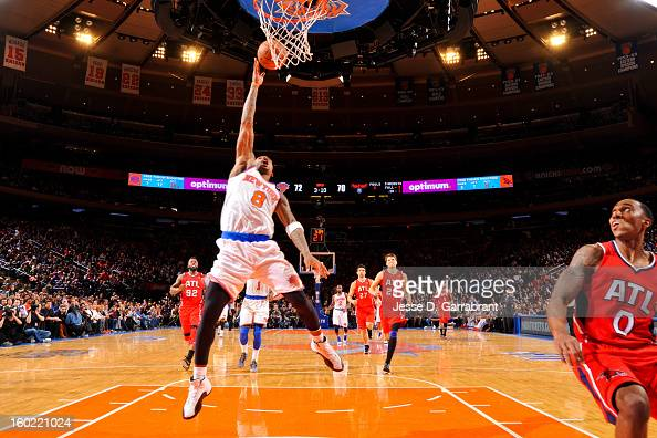 R Smith of the New York Knicks shoots a layup against the Atlanta Hawks at Madison Square Garden on January 27 2013 in New York New York NOTE TO USER...