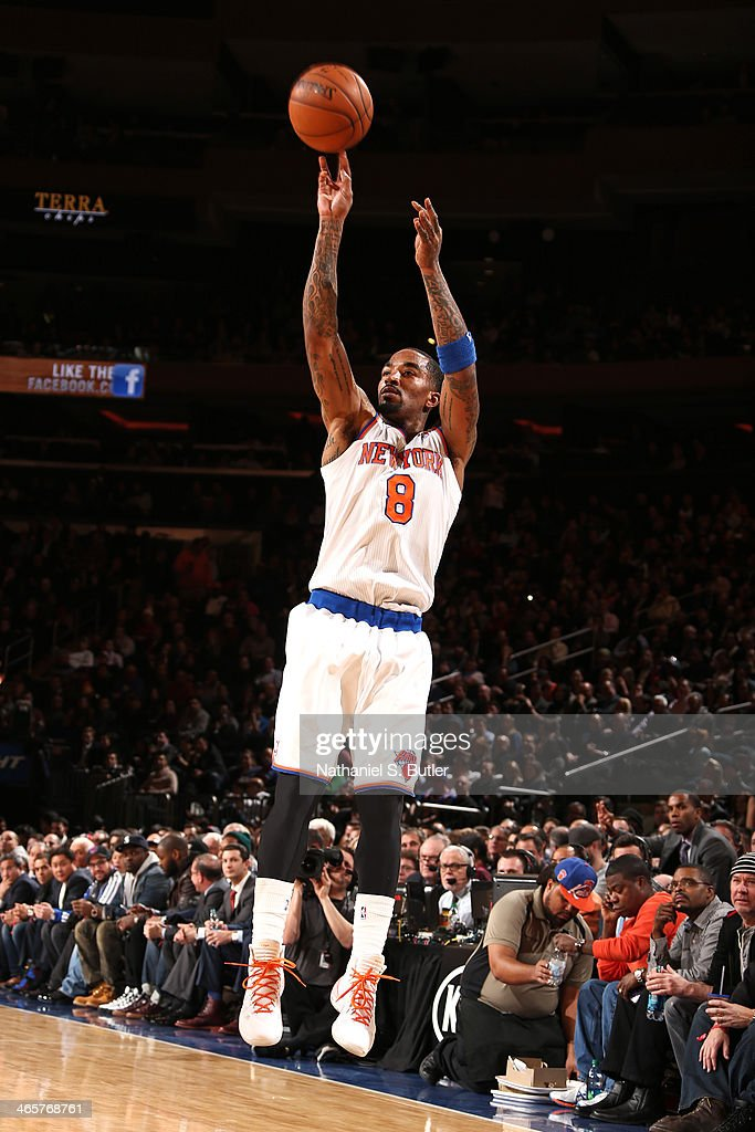 <a gi-track='captionPersonalityLinkClicked' href=/galleries/search?phrase=J.R.+Smith&family=editorial&specificpeople=201766 ng-click='$event.stopPropagation()'>J.R. Smith</a> #8 of the New York Knicks shoots against the Boston Celtics at Madison Square Garden in New York City on January 28, 2014.