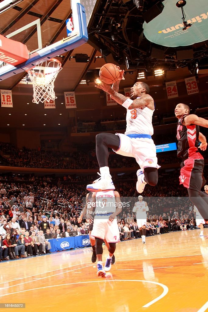J.R. Smith #8 of the New York Knicks shoots in a game against the Toronto Raptors on February 13, 2013 at Madison Square Garden in New York City.