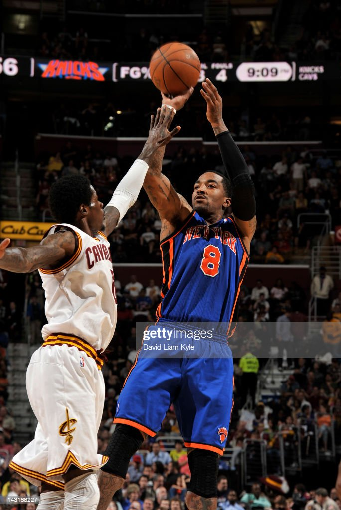 <a gi-track='captionPersonalityLinkClicked' href=/galleries/search?phrase=J.R.+Smith&family=editorial&specificpeople=201766 ng-click='$event.stopPropagation()'>J.R. Smith</a> #8 of the New York Knicks shoots the jumper against <a gi-track='captionPersonalityLinkClicked' href=/galleries/search?phrase=Manny+Harris&family=editorial&specificpeople=4683139 ng-click='$event.stopPropagation()'>Manny Harris</a> #6 of the Cleveland Cavaliers at The Quicken Loans Arena on April 20, 2012 in Cleveland, Ohio.