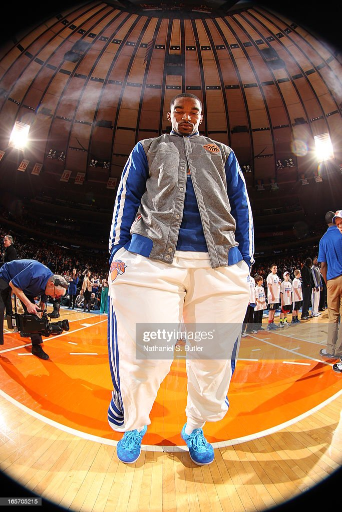 J.R. Smith #8 of the New York Knicks stands on the court before the game against the Miami Heat on March 3, 2013 at Madison Square Garden in New York City.