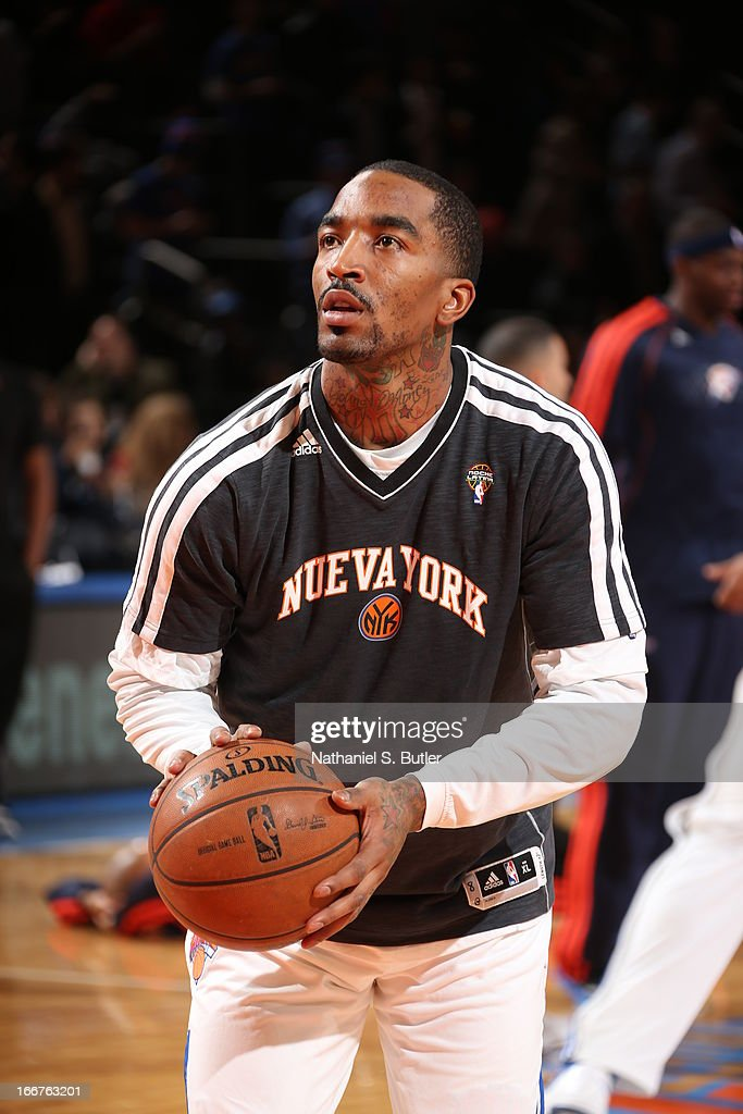 <a gi-track='captionPersonalityLinkClicked' href=/galleries/search?phrase=J.R.+Smith&family=editorial&specificpeople=201766 ng-click='$event.stopPropagation()'>J.R. Smith</a> #8 of the New York Knicks warms up before the game against the Oklahoma City Thunder on March 7, 2013 at Madison Square Garden in New York City.