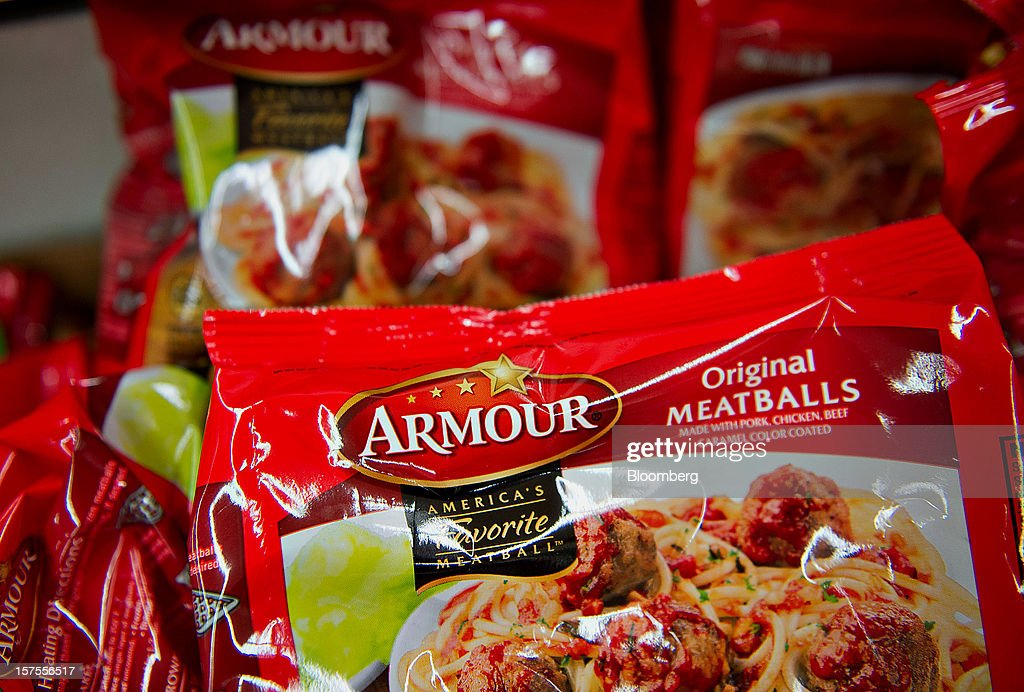 Smithfield Foods Inc. Armour brand meatballs sit on display at a supermarket in Princeton, Illinois, U.S., on Monday, Dec. 3, 2012. Smithfield Foods Inc., the world's biggest pork processor, is scheduled to report quarterly earnings on Dec. 6. Photographer: Daniel Acker/Bloomberg via Getty Images