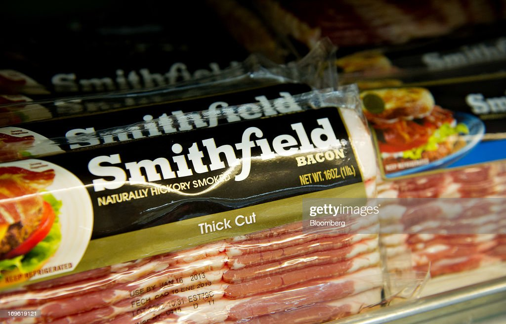 Smithfield Foods Inc. bacon sits on display for sale at a supermarket in Princeton, Illinois, U.S., on Monday, Dec. 3, 2012. Smithfield Foods Inc., the world's biggest pork processor, is scheduled to report quarterly earnings on Dec. 6. Photographer: Daniel Acker/Bloomberg via Getty Images