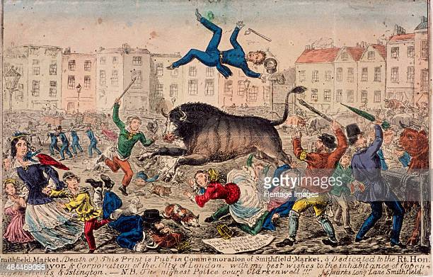 Smithfield Market London c1855 Scene of a bull rampaging through Smithfield Market having just tossed a policeman into the air