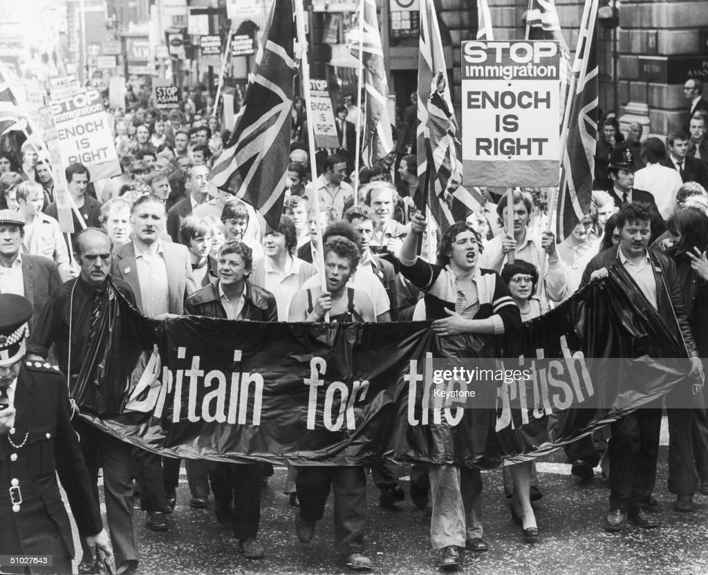 Smithfield meat porters march on the Home Office, bearing a petition which calls for an end to all immigration into Britain, 25th August 1972.