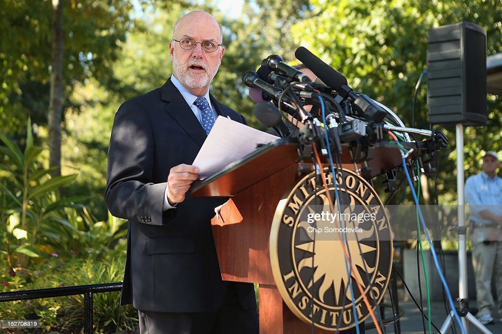 Smithsonian National Zoological Park Director Dennis Kelly speaks during a press conference the day after the death of a week-old giant panda bear cub at the National Zoo September 24, 2012 in Washington, DC. The preliminary necropsy of the female cub did not immediately reveal the cause of death but Murray said the initial exam made it appear the cub was not crushed by her mother.