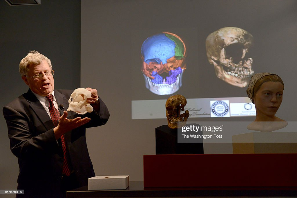 Smithsonian's Douglas Owsley talks about the racial reconstruction from the remains of 'Jane', a 17th teenager from Jamestown at the Museum of Natural History in Washington, DC on May 1, 2013. Forensic experts believe that after examining the incomplete skull and tibia of the girl, that after her death, she was consumed by colonists there during a rough winter of 1609-1610 wherein 200 colonists died. The find of physical evidence by Jamestown Archeologists reveals startling survival tactics at the historic colony. Smithsonian anthropologists and archeologists believe that chop marks on her skull indicate attempts to split the skull open. Scientists were able to determine that 'Jane', was age 14, from England but they could not determine cause of death. On May 3rd the facial reconstruction will be on display at the museum. The skeletal remains will be on display at Historic Jamestowne near the discovery site on Jamestown Island.