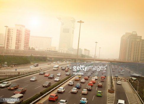 Smog and Traffic Jam in Beijing