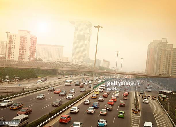 Smog and Traffic Jam in Beijing
