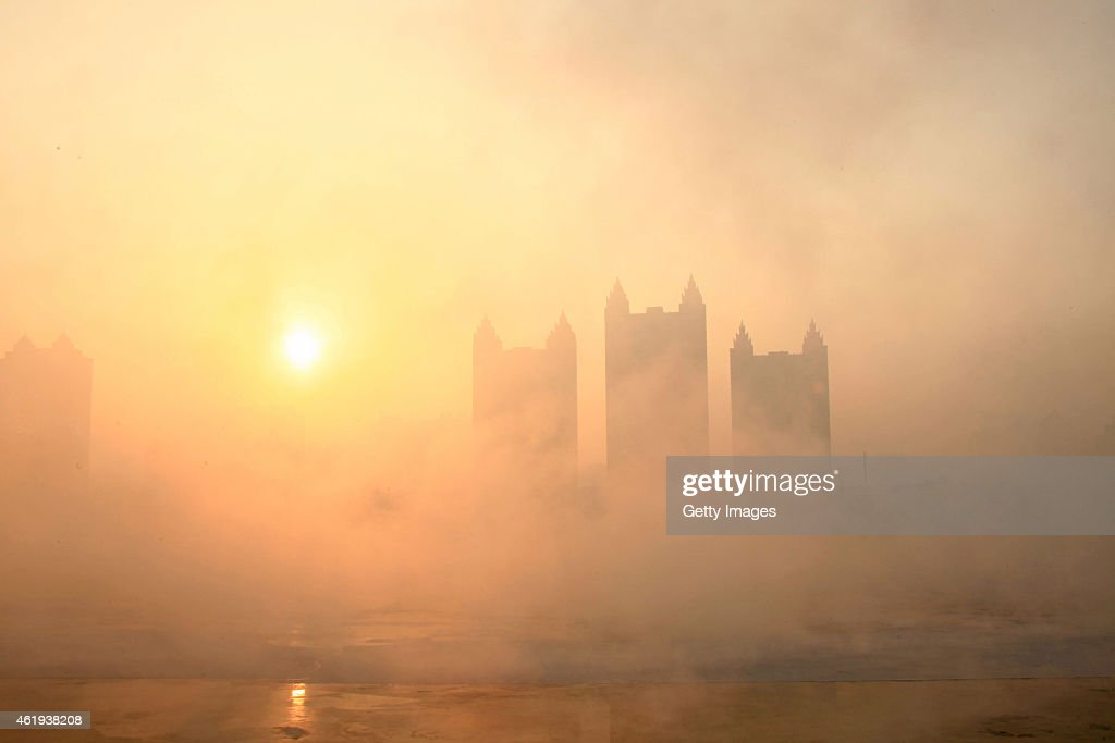 Smog arrives at the banks of Songhua River due to the lowest temperature rises to minus 14 degrees celsius on January 22 2015 in Jilin Jilin province...