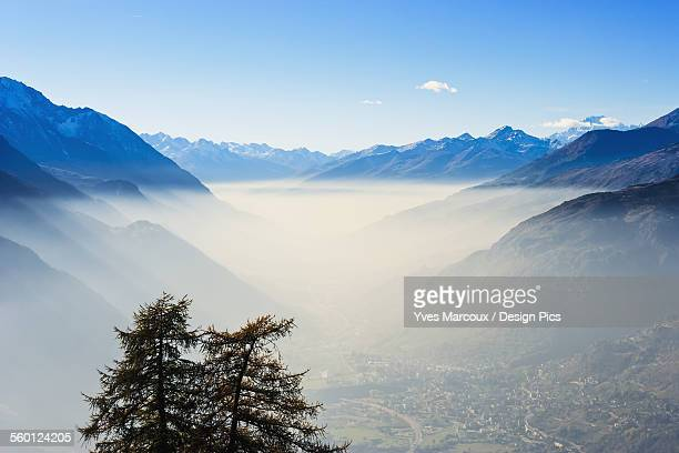 Smog in Aosta Valley and Mont Blanc