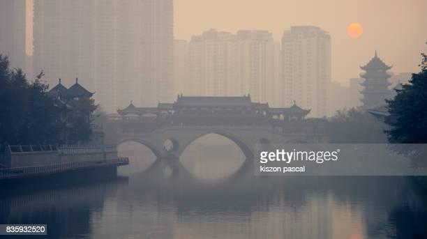 Smog in Chengdu at dusk ( Sichuan , China )