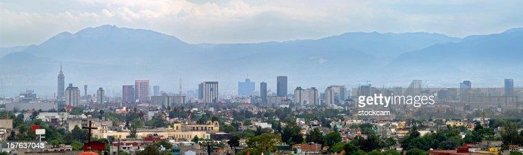 Smog in Mexico City panorama skyline
