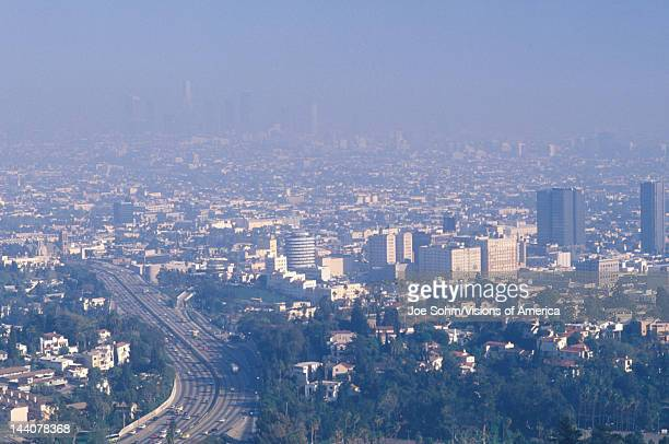 Smog obscuring the Los Angeles skyline