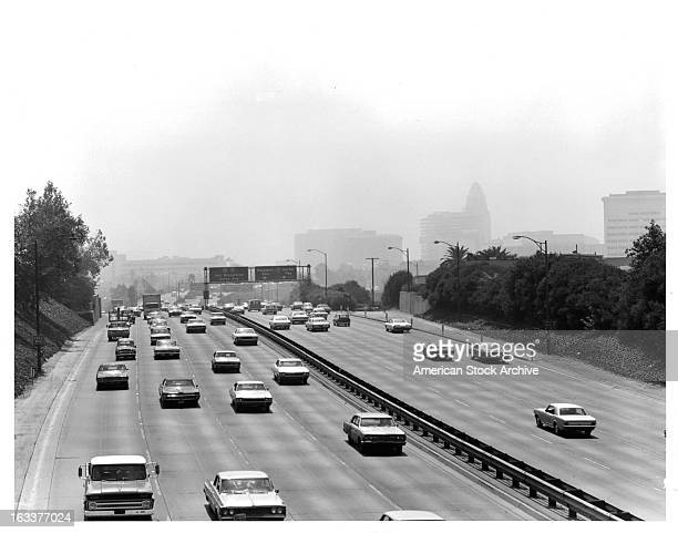 Smoggy day over Hollywood Freeway in Los Angeles California circa 1965
