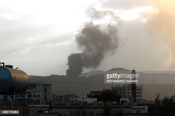 Smoke and flames rise allegedly from Shiite Huthi rebels camps located on Fajj Attan Hill following an airstrike by the Saudiled alliance on April 6...