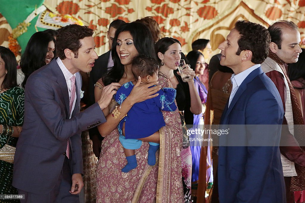 PAINS -- 'Smoke and Mirrors' Episode 601 -- Pictured: (l-r) Paulo Costanzo as Evan Lawson, Reshma Shetty as Divya Katdare, Mark Feuerstein as Dr. Hank Lawson --