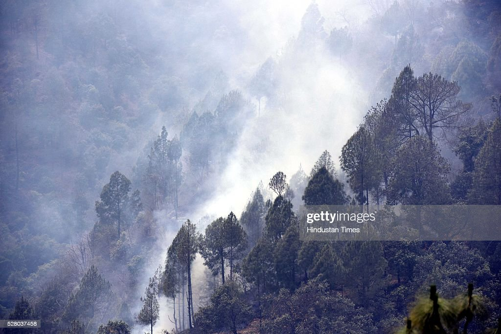Smoke belching out of the jungles, on May 3, 2016 in Uttrakhand, India. Presently, some 5,000 workers -- including 3,000 daily wagers -- are engaged in putting out the fire. More than 2300 hectares of forest have been gutted in the fire since it was first reported in February this year. Dry winters and soaring temperatures are blamed for the fire that has affected all 13 districts of the state.