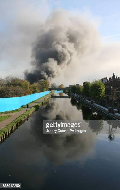 Smoke bellows from a huge fire on the 2012 Olympic site in Stratford east London