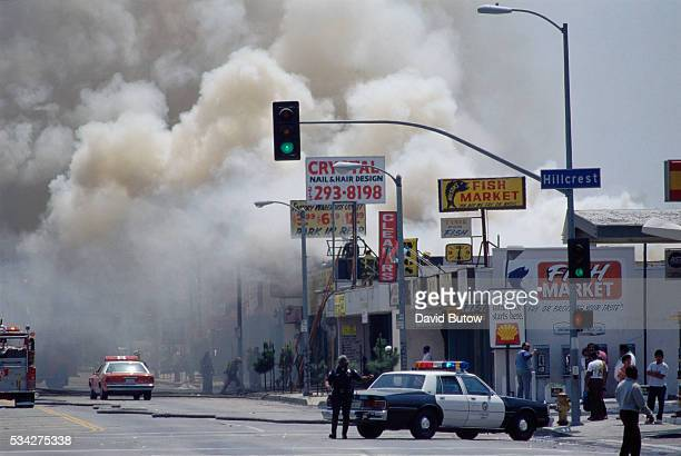 Smoke Billowing from Burning Buildings During Los Angeles Riots