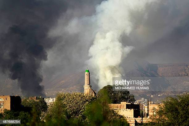 Smoke billows following an airstrike by the Saudiled coalition targeting an arms depot in the capital Sanaa early on September 11 2015 The coalition...