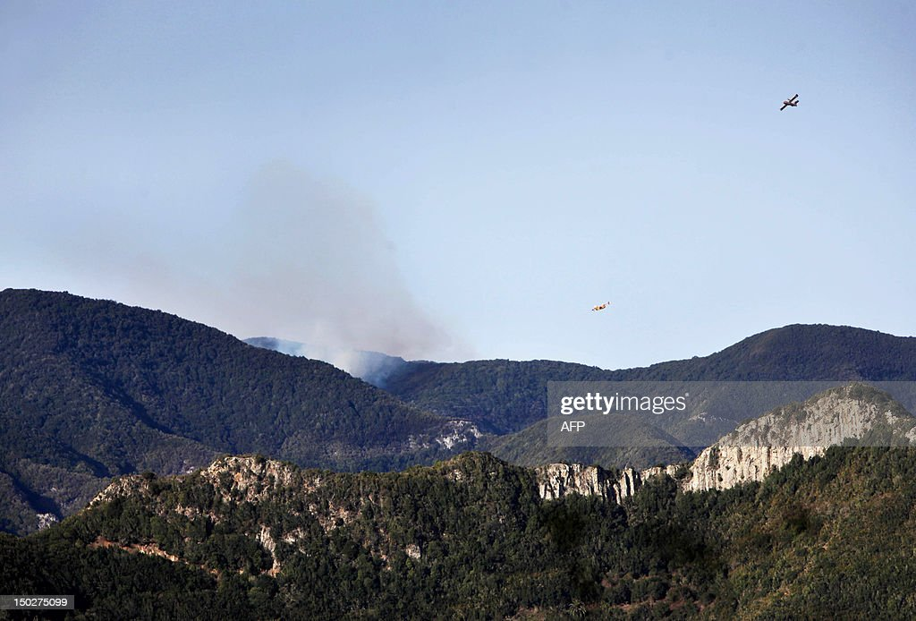Smoke billows from a wildfire over town of Vallehermoso in the National Park of Garajonay, on August 14, 2012, on the Spanish canary island of La Gomera. Wildfires drove thousands of people from their homes near a rare nature reserve in Spain's Canary Islands on Monday after a separate mainland blaze killed two, authorities said. AFP PHOTO / Desiree Martin /