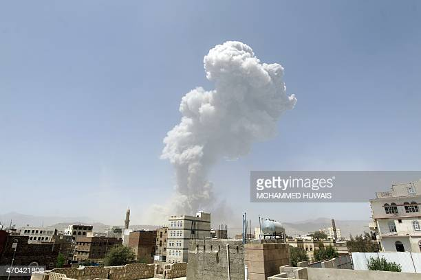 Smoke billows from the Fajj Attan Hill following a reported airstrike by the Saudiled coalition on an army arms depot now under Huthi rebel control...