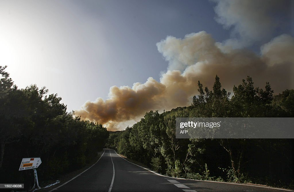 Smoke billows from the National Park of Garajonay on the spanish canary island of La Gomera on August 13, 2012. Wildfires killed two people in south-eastern-Spain and forced thousands to evacuate in the Canary Islands where flames ravaged a rare nature reserve, authorities said today.