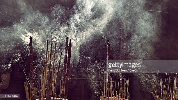 Smoke Emitting From Burning Incense Outdoors