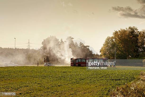 Smoke emitting from bus