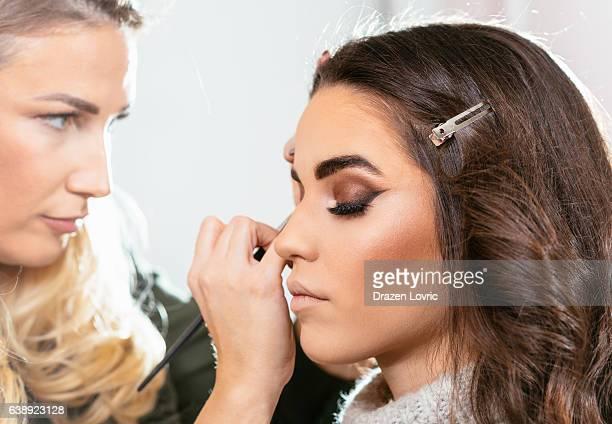 Smoke eye make up on beautiful female model