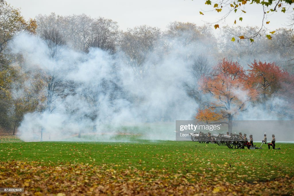 Smoke fills the air as members of the King's Troop Royal Horse Artillary take part in a 41-gun salute to mark the 69th birthday of the Prince of Wales at Green Park on November 14, 2017 in London, England. Six First World War-era 13 pounder Field Guns were used to fire the salute, while another gun salute took place at the Tower of London.