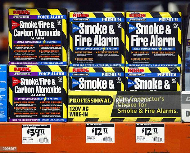 Smoke Fire Carbon Monoxide alarms are displayed in a Home Depot store February 19 2004 in Mount Prospect Illinois United States Consumer Product...