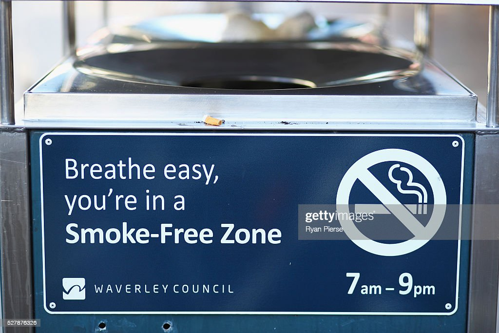 A smoke free sign is seen on May 04, 2016 in Sydney, New South Wales. The Australian Government yesterday announced in their budget four annual 12.5 per cent increases to tobacco excise and excise equivalent customs duties which will significantly push up the over-the counter price up to AUD$40 by 2020.
