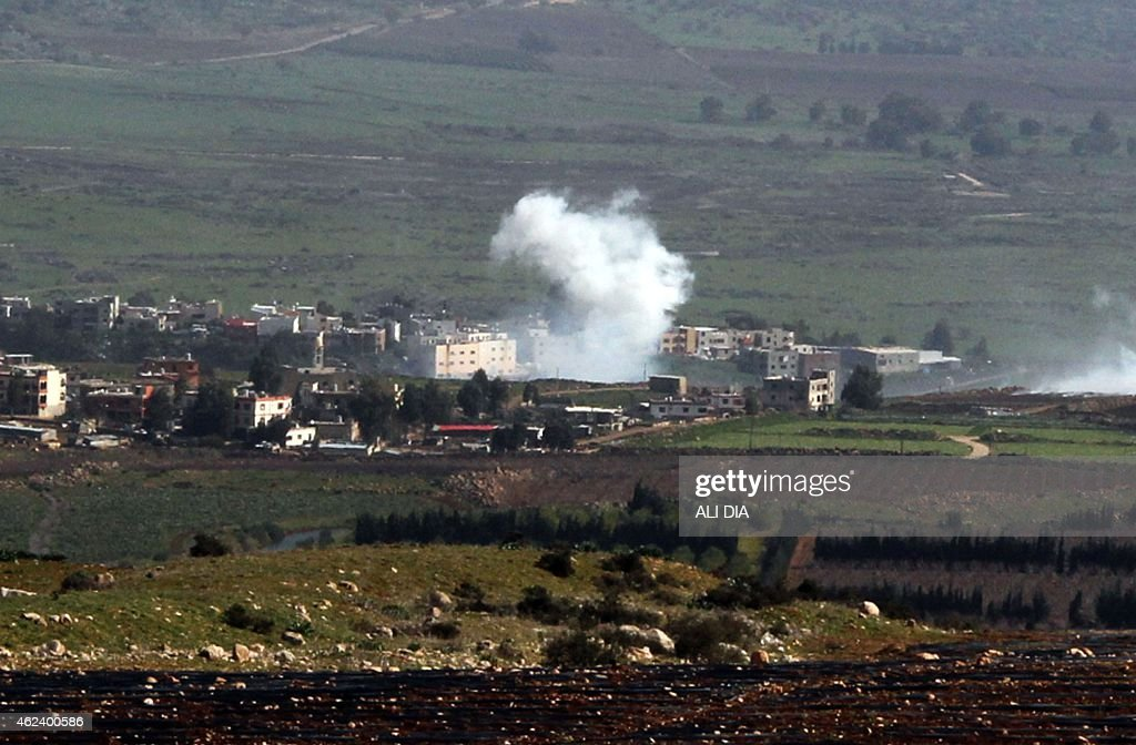 Smoke from Israeli shelling billow from the Lebanese town of AlMajidiyah on the Lebanese border with Israel on January 28 2015 Lebanese Shiite...