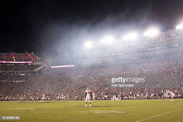 Smoke from pregame pyrotechnics fills the air prior to an NCAA football game between the Florida State Seminoles and the Clemson Tigers on October 29...