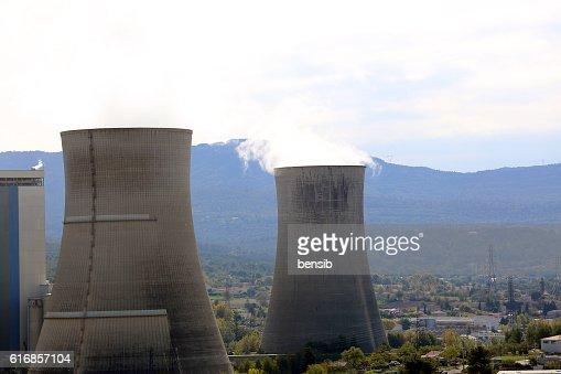 Smoke Pollution From Power Plant Smokestacks : Stock Photo